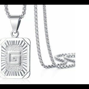 "White Gold Filled Letter G Pendant 20"" Necklace"